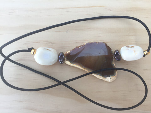 CUSTOM Natural Ocean Onyx & Bone Gemstone Hairtie