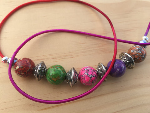 MULTI-COLORED MAGNESITE GEMSTONE HAIRTIE