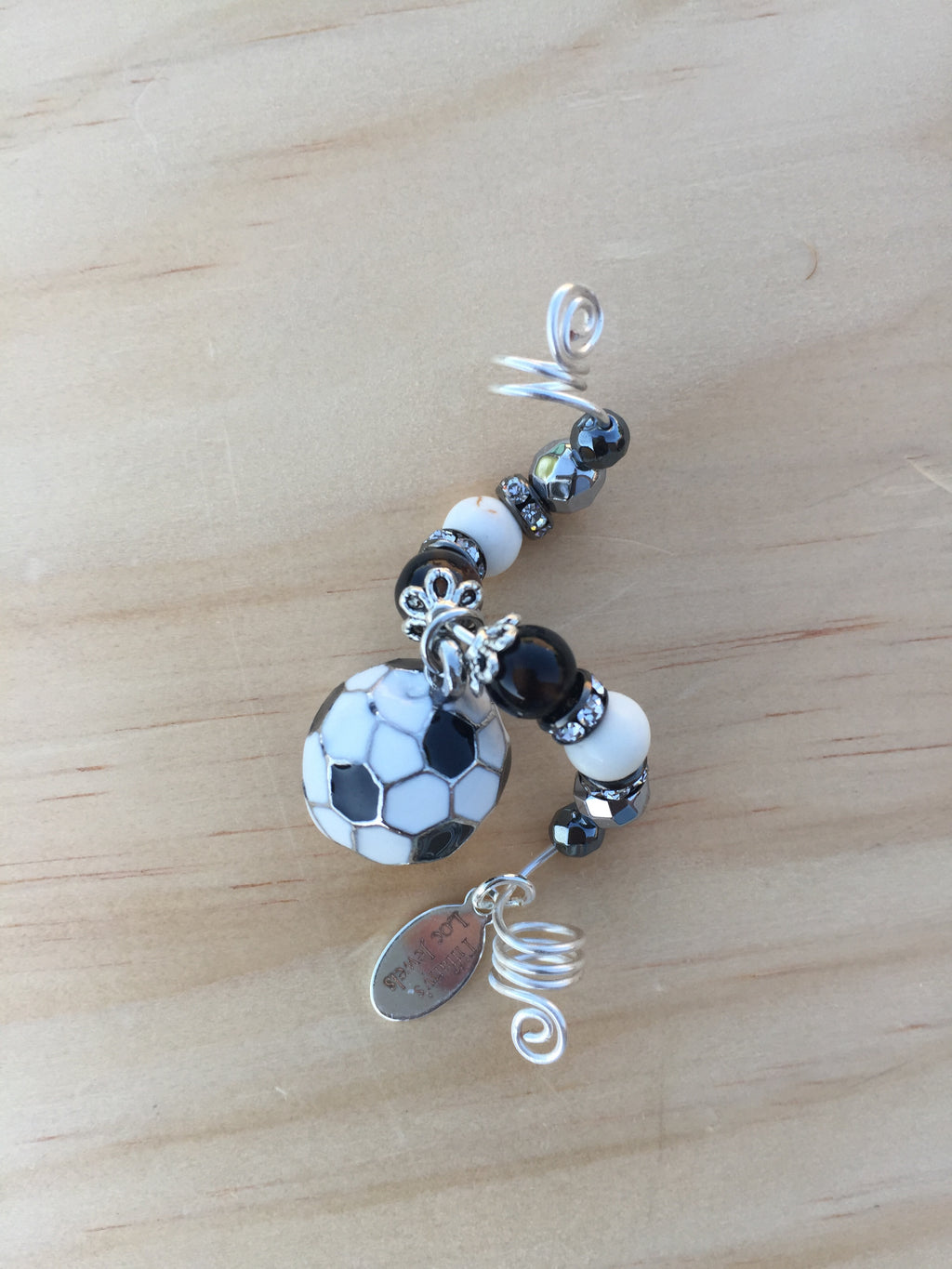 I LOVE SOCCER MAGNESITE & BLACKSTONE LOC JEWEL - TIFFANY'S LOC JEWELS