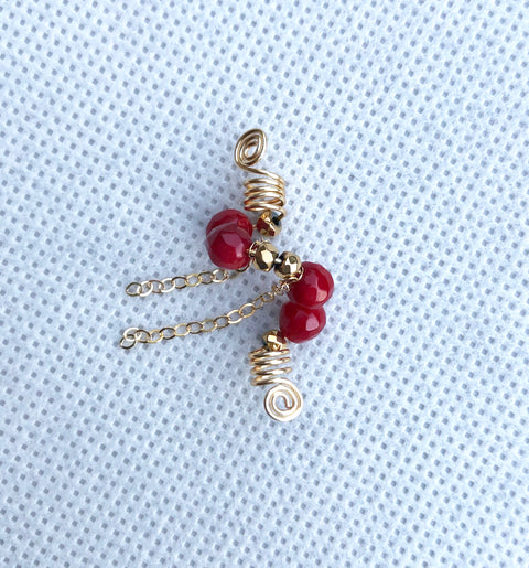 RED VELVET Coral Sisterlock Loc Jewel - TIFFANY'S LOC JEWELS