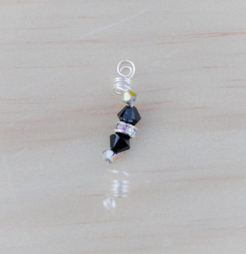 CARBON Black Swarovski Crystal Sisterlock Loc Jewel - TIFFANY'S LOC JEWELS