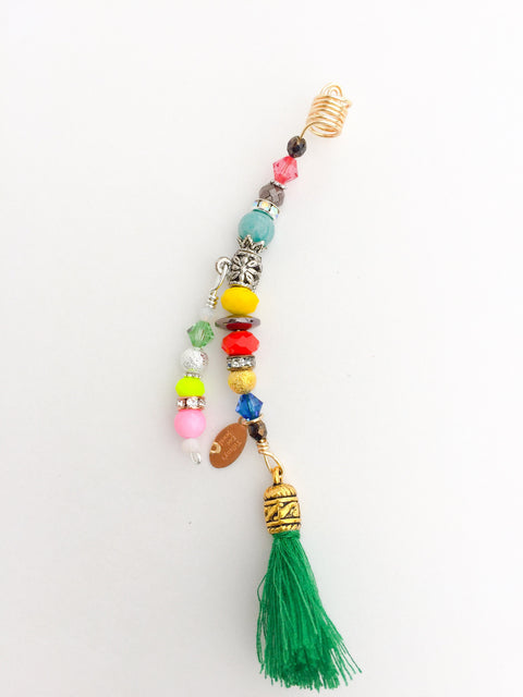 JOHN EDGAR WIDEMAN MULTI-COLORED & GREEN TASSEL LOC JEWELRY