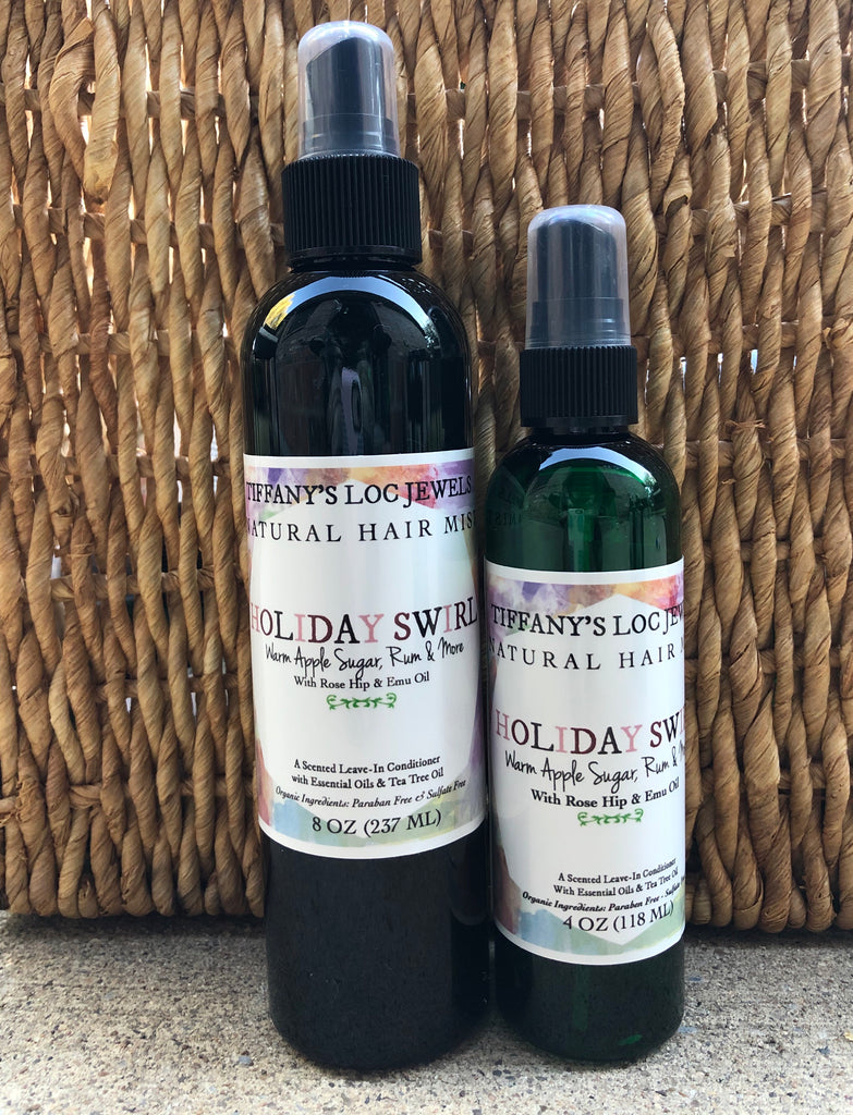HOLIDAY SWIRL WARM APPLE SUGAR & RUM NATURAL HAIR MIST - TIFFANY'S LOC JEWELS