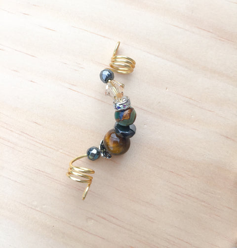 RISING MOSAIC AGATE TIGER'S EYE LOC JEWELRY