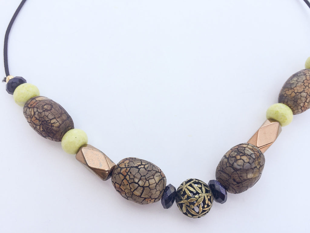 Morton Lemon Jasper & Wood-Fired Agate Gemstone Hairtie - TIFFANY'S LOC JEWELS