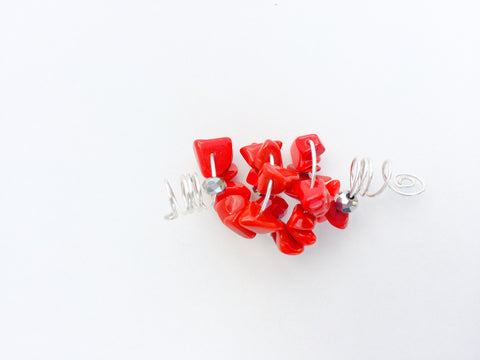 LANGSTON HUGHES RED CORAL BITS LOC JEWELRY