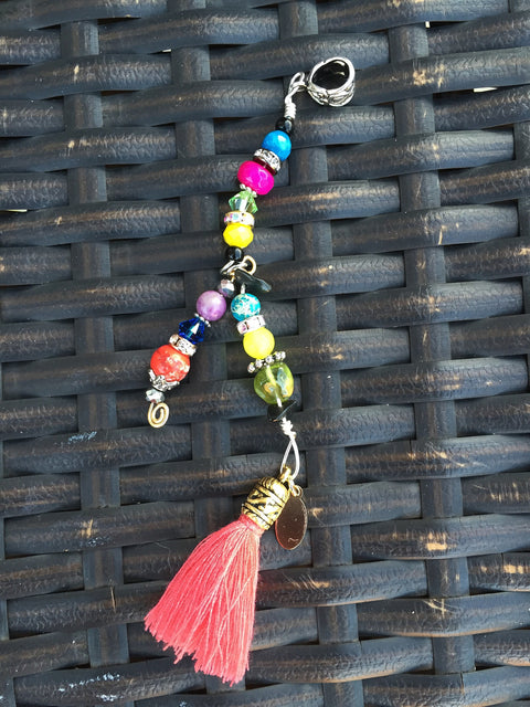 JAMES WELDON JOHNSON MULTI-COLORED & ORANGE TASSEL LOC JEWELRY