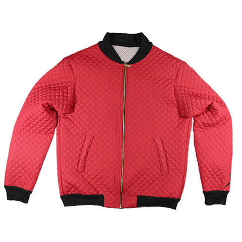 Red Quilted Bomber