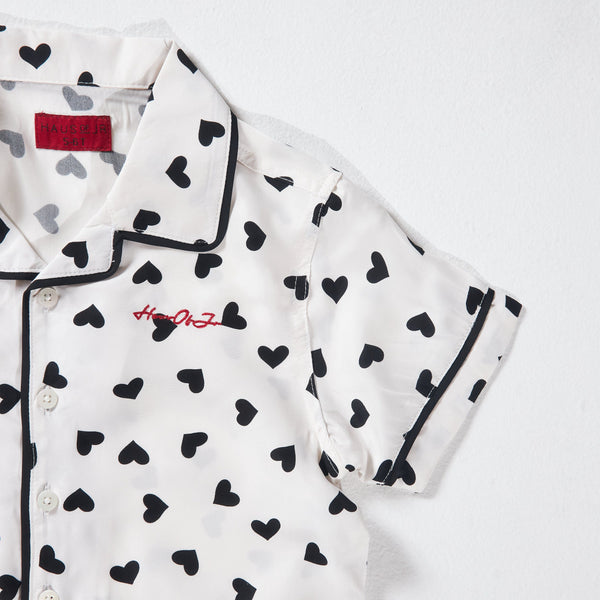 Heart Champs Button-Up (White/Black) - Haus of JR