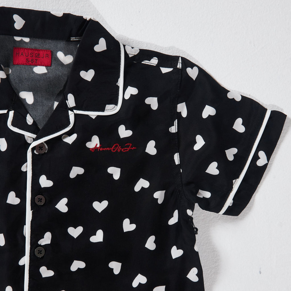 Heart Champs Button-Up (Black/White) - Haus of JR