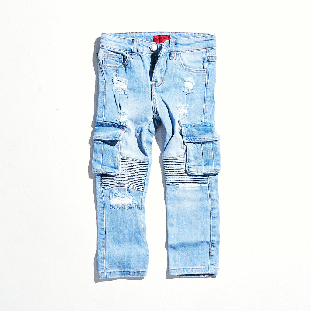 Tracy Cargo Denim (Blue) Bottoms Haus of JR