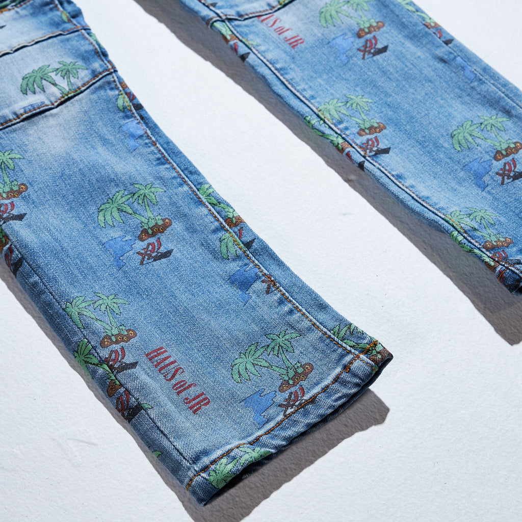 Scribble Denim (Light Blue) Bottoms Haus of JR