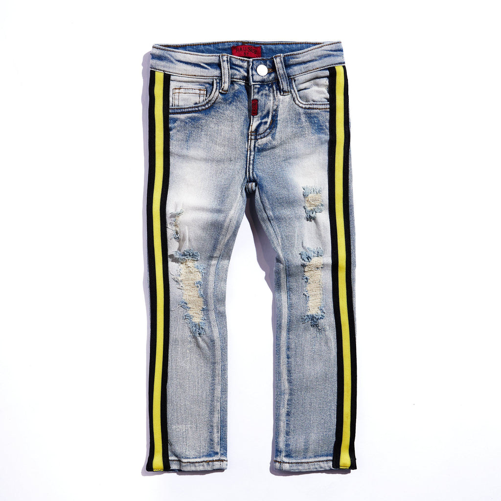 Leonard Striped Denim (Indigo Yellow) Bottoms Haus of JR
