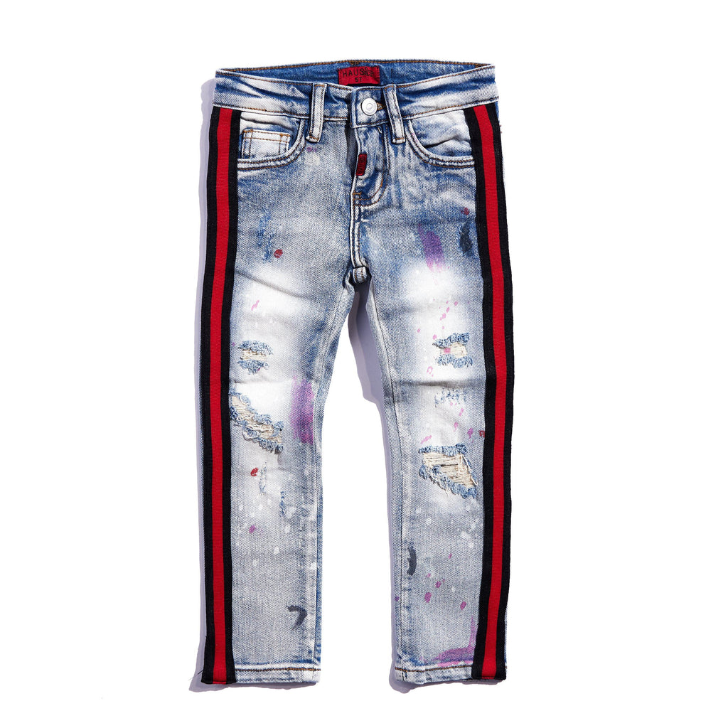Leonard Striped Denim (Indigo Red) Bottoms Haus of JR
