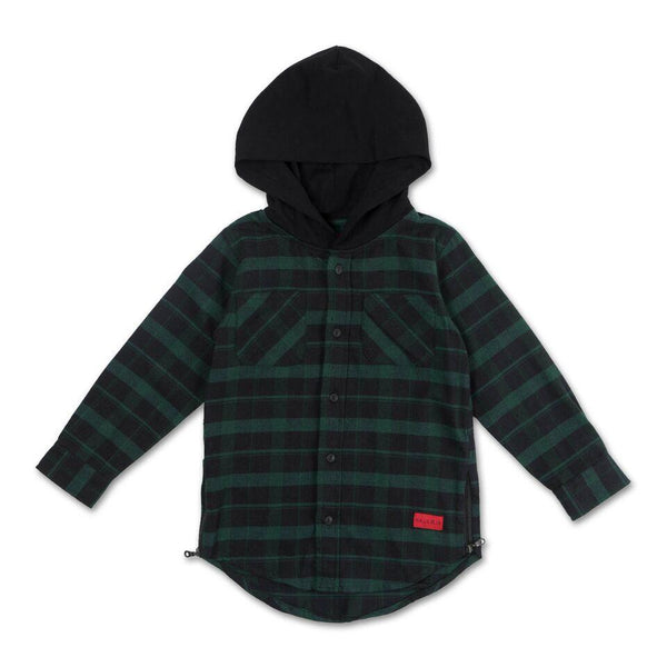 George Hooded Flannel (Black) - Haus of JR