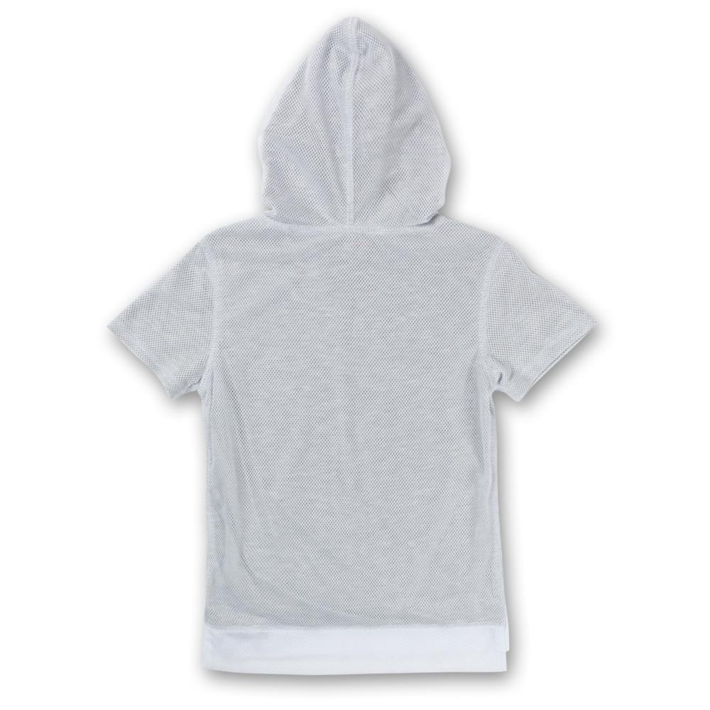 JOEY SHORT SLEEVE MESH HOODIE (WHITE) - Haus of JR