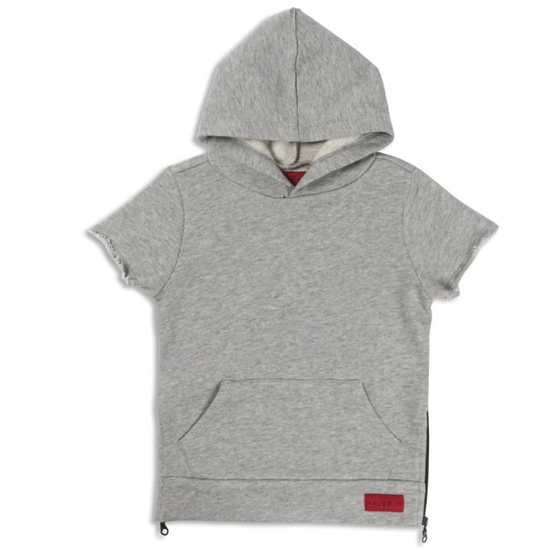 JORDYN SHORT SLEEVE SIDE ZIP HOODIE (GREY) - Haus of JR
