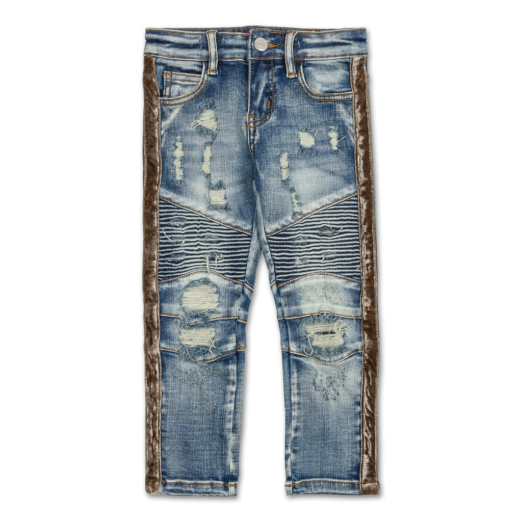 Violet Velour Biker Denim (Indigo Silver) - Haus of JR