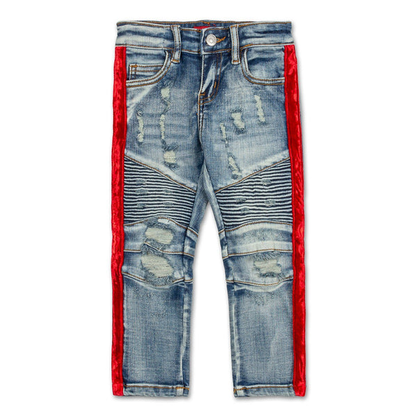 Violet Velour Biker Denim (Indigo Red)
