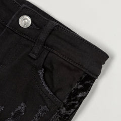 Violet Velour Biker Denim (Black) - Haus of JR