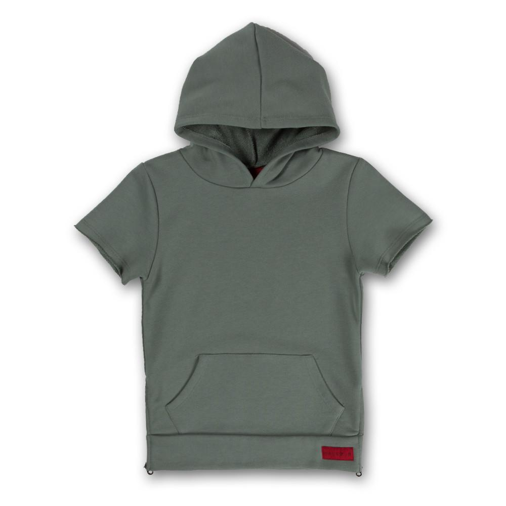 JORDYN SHORT SLEEVE SIDE ZIP HOODIE (GREEN) - Haus of JR