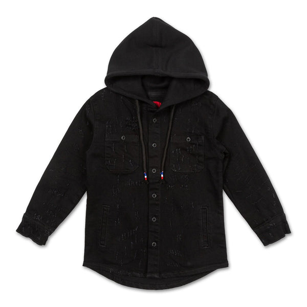 Asher Hooded Denim Shirt Tops Haus of JR
