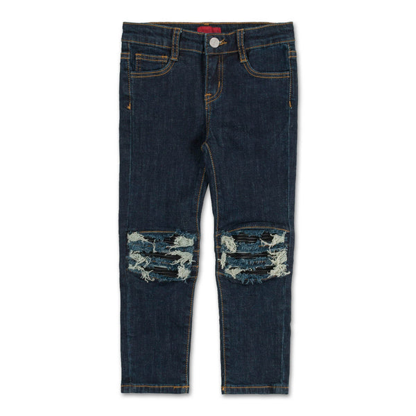 Landon Leather Biker Insert Denim (Raw Indigo)