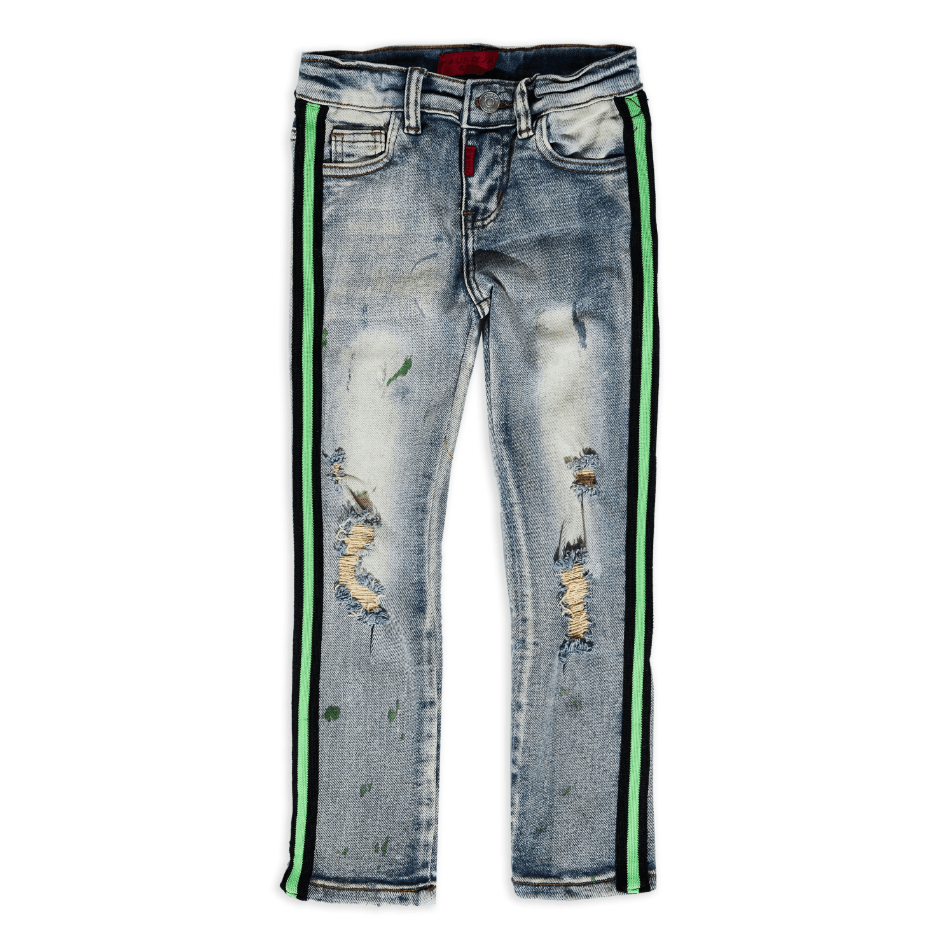 Leonard Striped Denim (Green Stripe) - Haus of JR