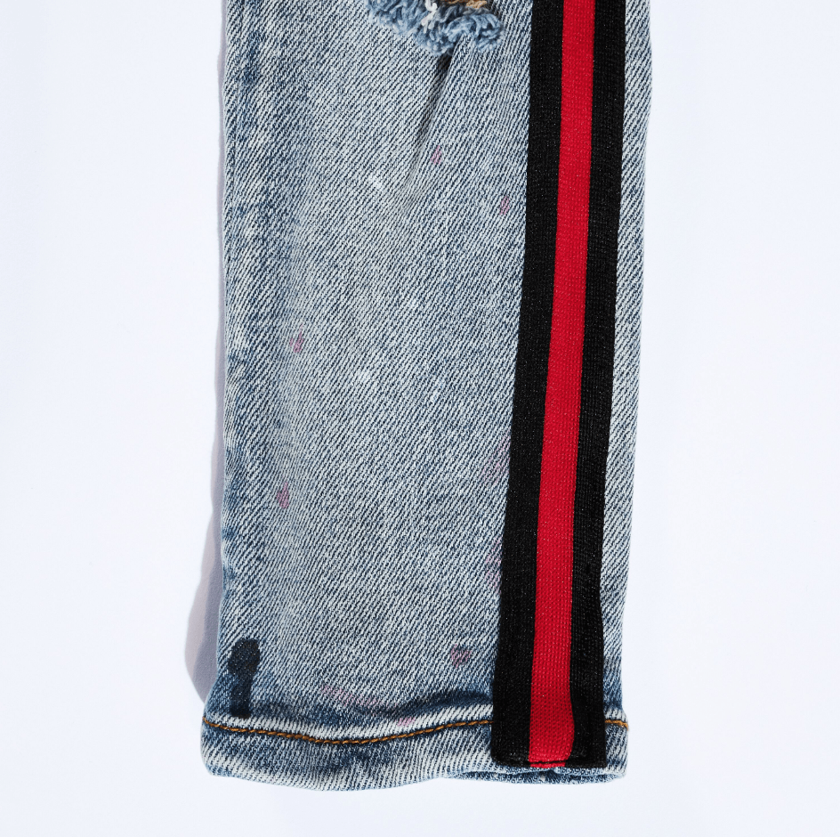Leonard Striped Denim (Red Stripe) - Haus of JR