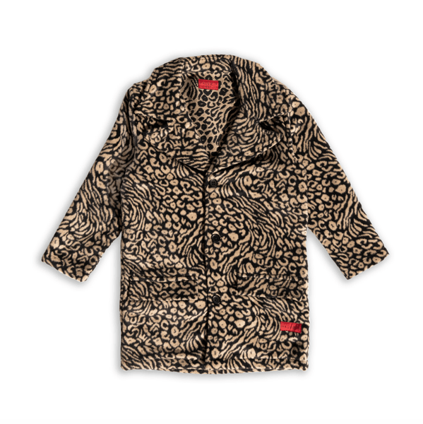 Catprint Peacoat (Tan) Outerwear Haus of JR