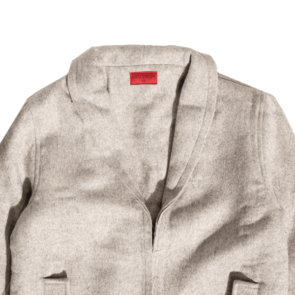 Drake Raw Edge Peacoat (Grey) Outerwear Haus of JR