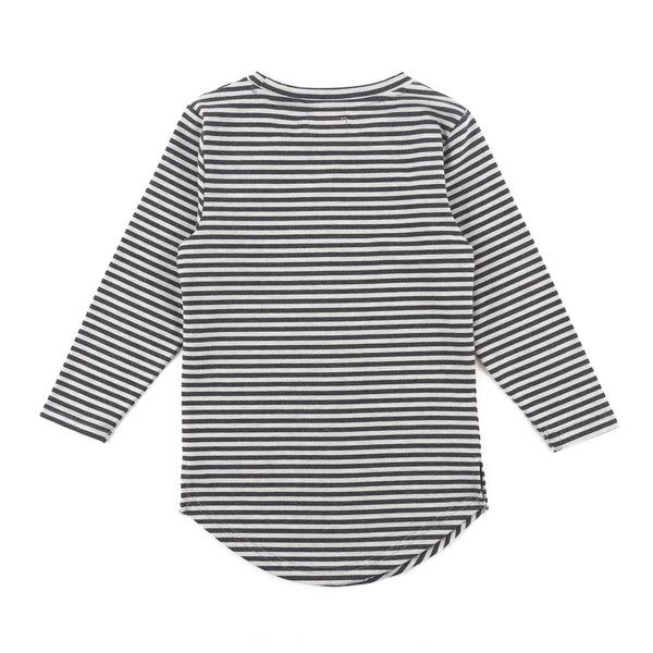 Trevor Long Sleeve Scallop Tee (Charcoal/Grey Stripe)