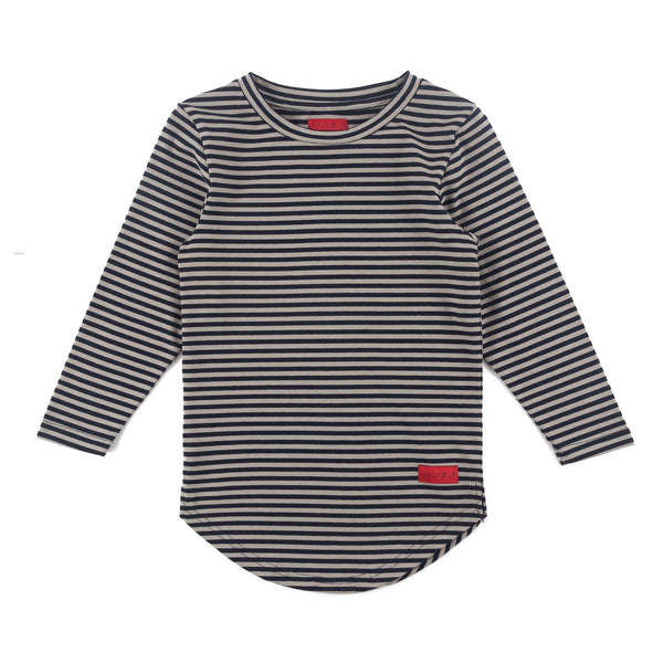 Trevor Long Sleeve Scallop Tee (Navy/Grey Stripe)