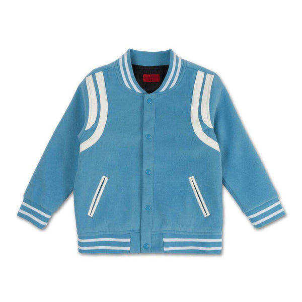 Teddy Varsity Jacket (Blue) - Haus of JR