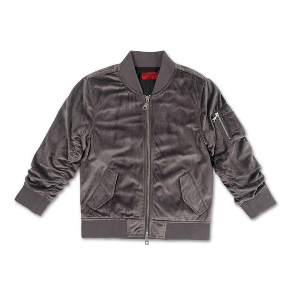 Viola Velour Bomber Jacket (Grey) - Haus of JR