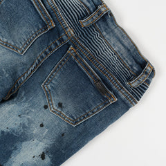 Clayton Biker Denim Patchwork (Sandwash Indigo) - Haus of JR