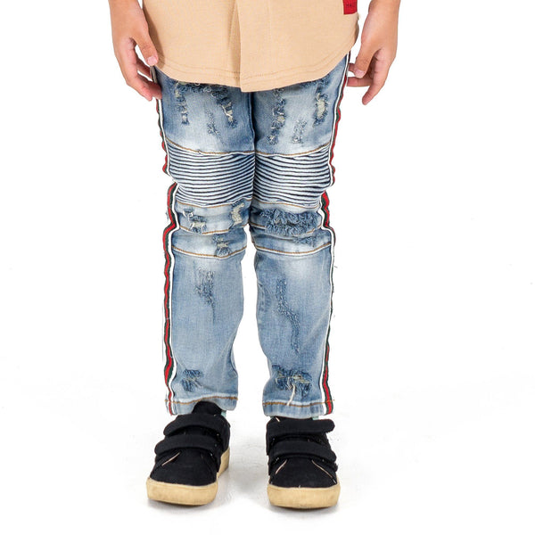 Clayton Striped Biker Denim - Haus of JR