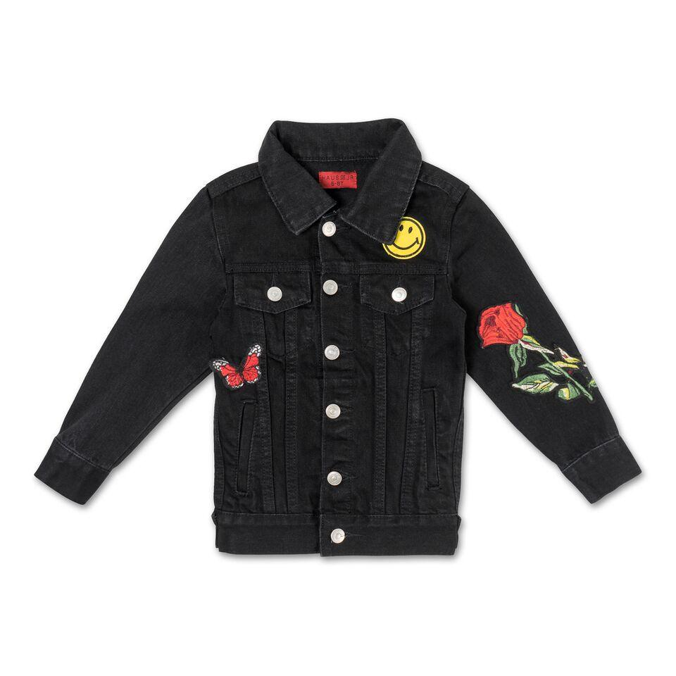 Jeffery Space Patch Jacket (Black Rinse Wash) - Haus of JR