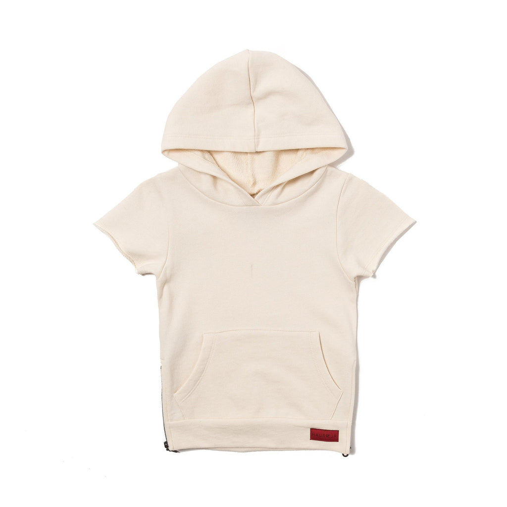 JORDYN WASHED SHORT SLEEVE HOODIE (OFF WHITE) - Haus of JR