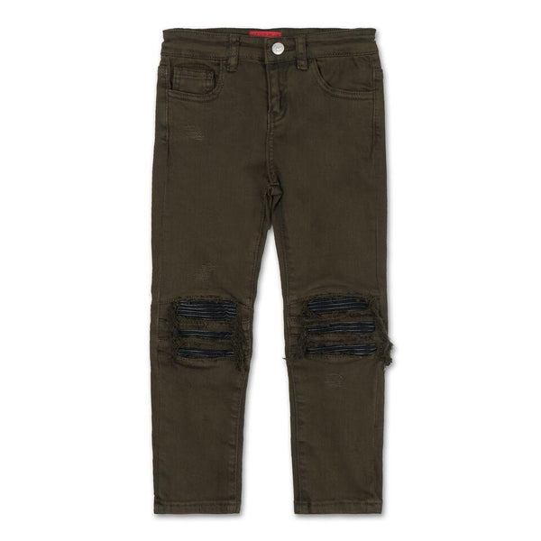 Landon Leather Biker Insert Denim (Overdyed Olive)