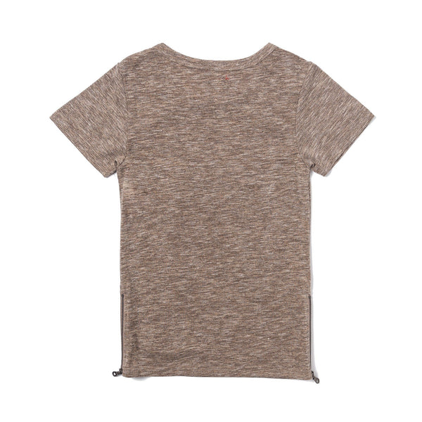 Parker Side Zip Short Sleeve Tee (Brown)