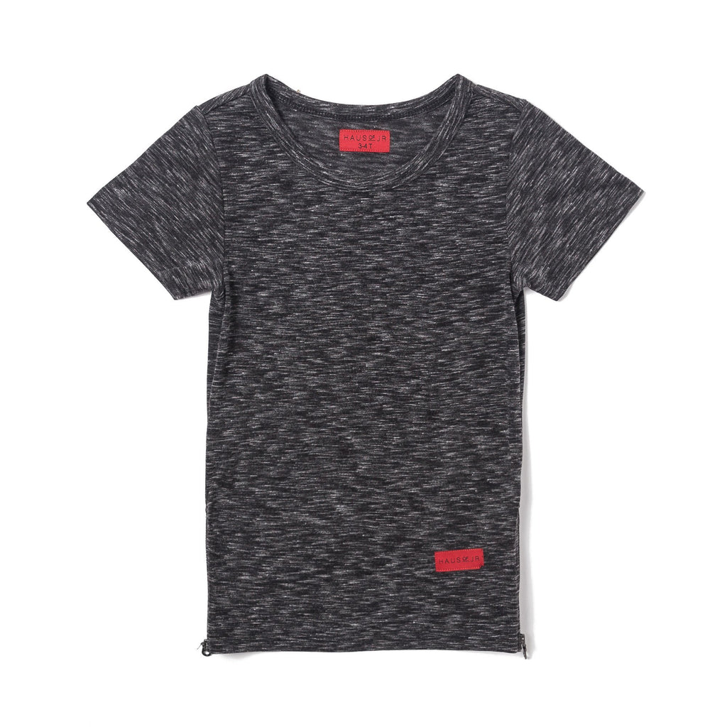 Parker Side Zip Short Sleeve Tee (Charcoal) - Haus of JR