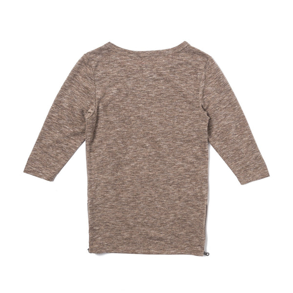 Tim Side Zip Long Sleeve (Heather Brown) - Haus of JR