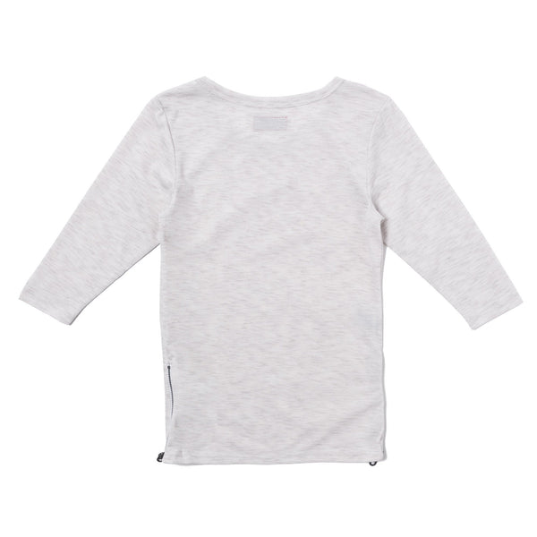 Tim Side Zip Long Sleeve Tee (Heather White) - Haus of JR