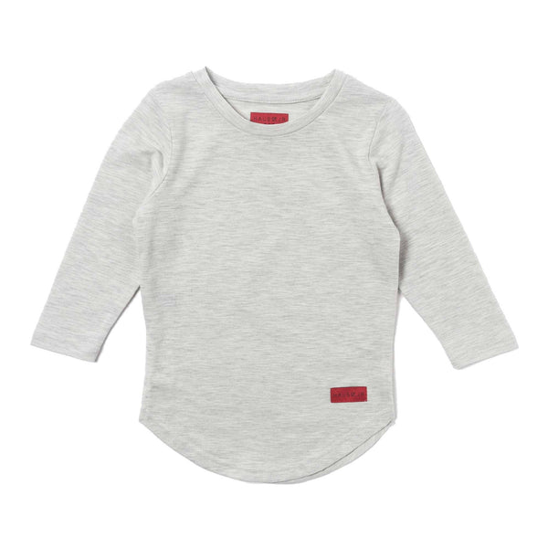 Trevor Scallop Long Sleeve Tee (Heather White) - Haus of JR