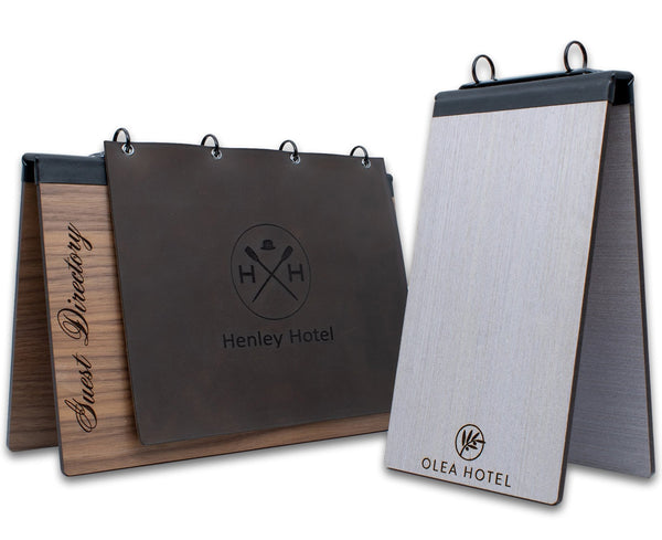 Hotel Table Top Display With Binder Ring Mechanism - Woodberry Company
