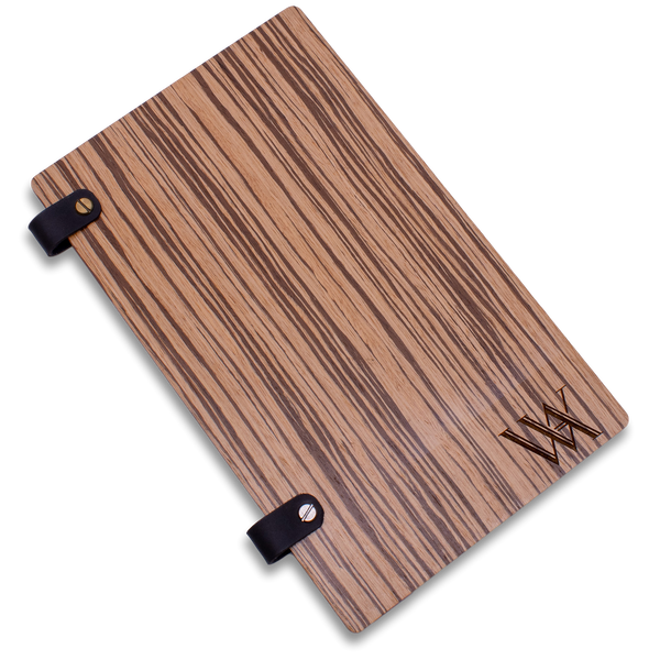 Hotel Directory Page Holder with Leather Loop in Zebra Wood
