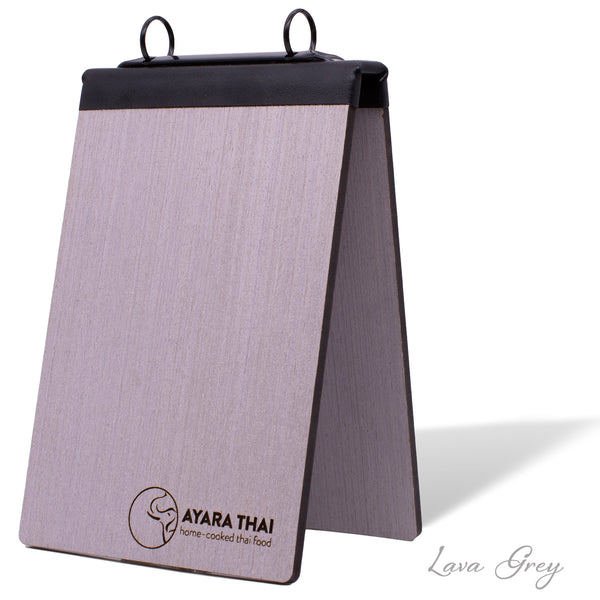 Table Tent Display With Binder Ring Mechanism in Lava Gray