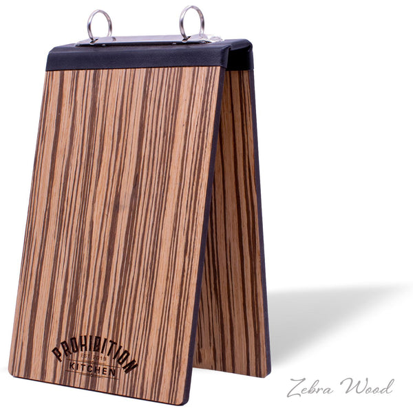 Table Tent Display With Binder Ring Mechanism in Zebra Wood
