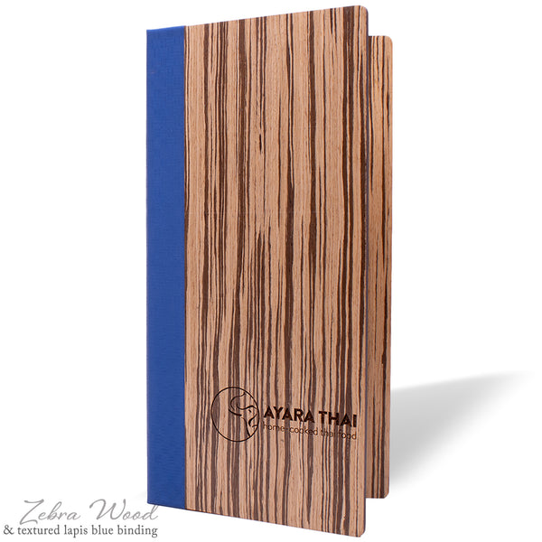 Menu Cover with Binder Ring Mechanism in Zebra Wood